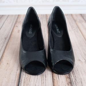 AEROSOLES Shoes - AEROSOLES peep toe black 7.5 wedges